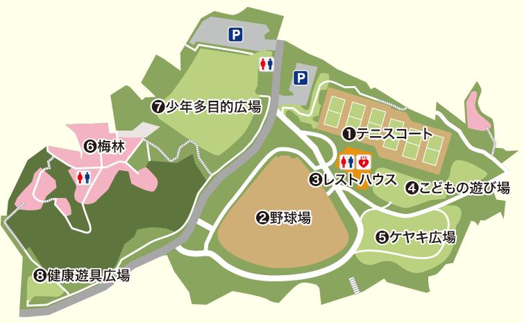 岡村公園の案内図