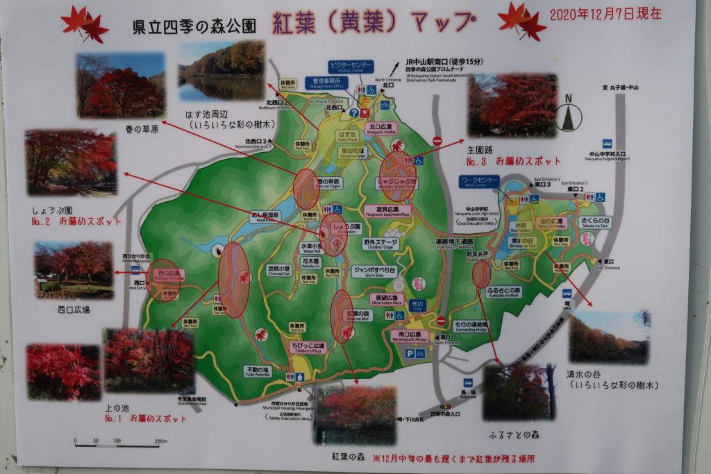 四季の森公園の紅葉マップ