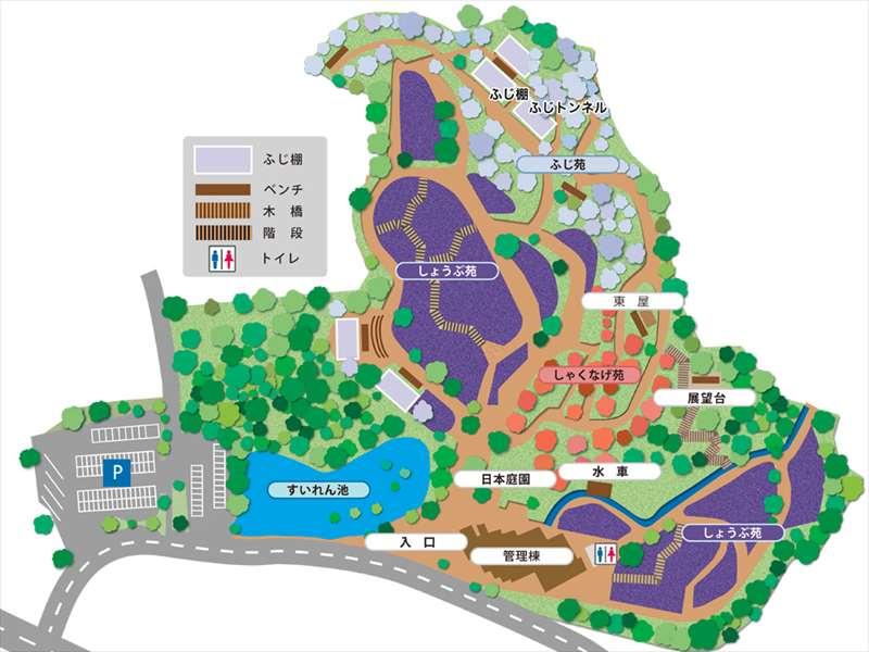 横須賀しょうぶ園の案内図