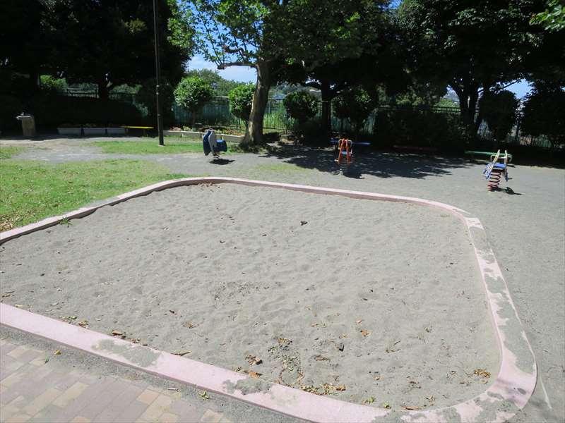 広い砂場とスプリング遊具