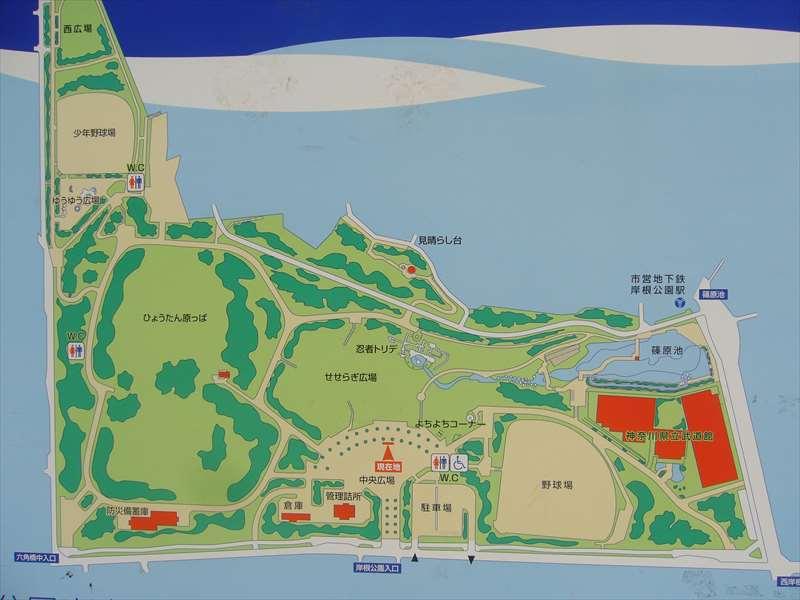 岸根公園の案内図